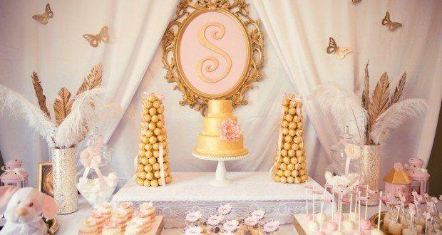 Baby shower en dorado y rosa para una ni a elegancia y - Decoracion baby shower nina ...