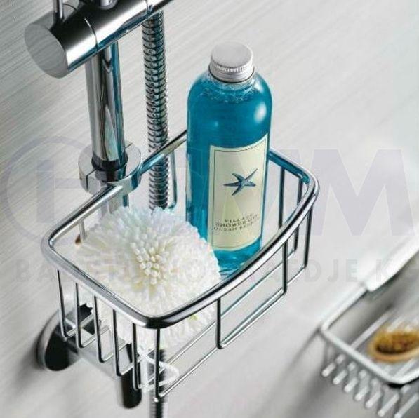 Design Seifenkorb Duschkorb für Brausestangen ø17-22mm, aus verchromten Messing  14x16x8cm