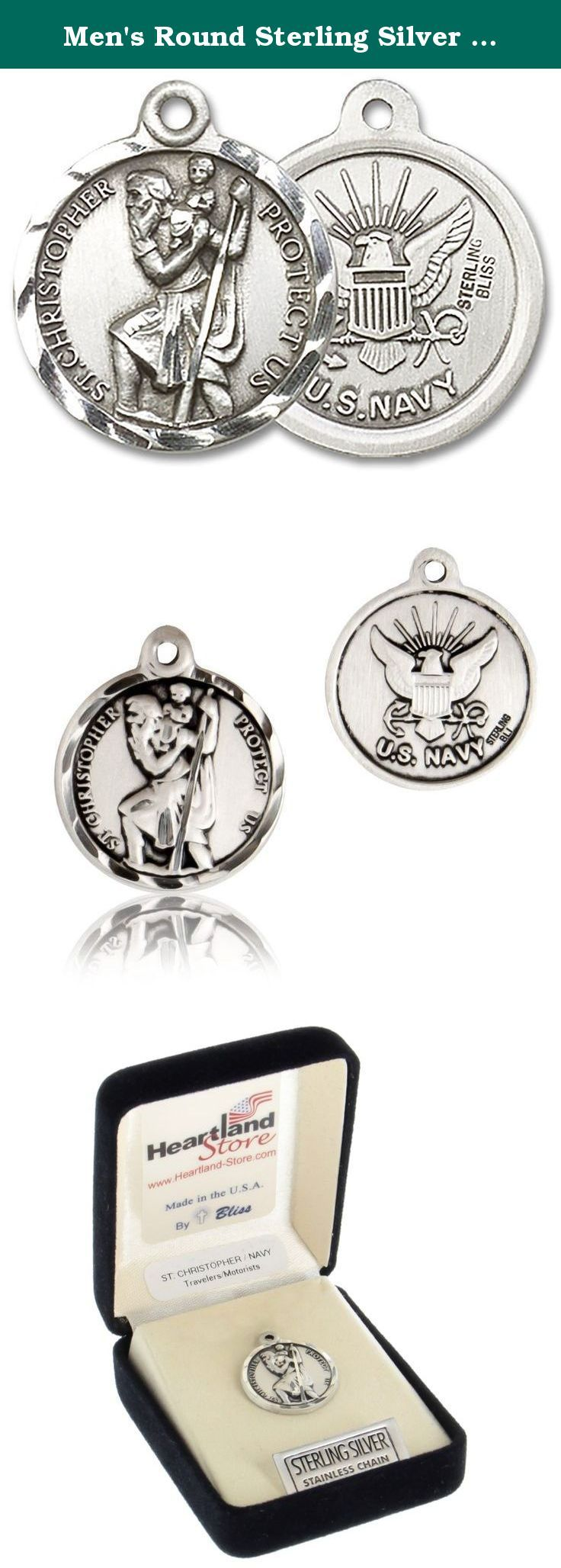 """Men's Round Sterling Silver St. Christopher Navy Medal - Pendant Only. This St. Christopher round Navy Medal is a great addition to anybody who is in the Navy or would like to protect a loved one. The front of the medal depicts an image of St. Christopher with the words around the image reading """"St. Christopher Protect Us"""". The back of the medal depicts the U.S Navy emblem. Select above which chain style you want from the style options above: * 24 inch chain with clasp * a 24 inch endless..."""