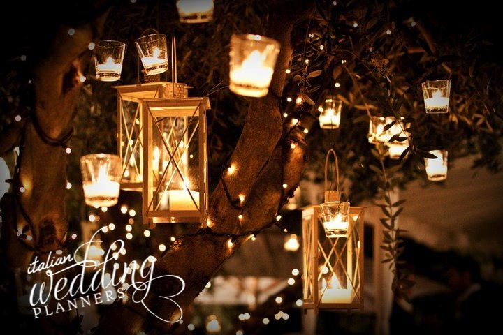 Fairy lights and lanterns decorate gardens and set the mood for a smashing celebration! Email our Cinque Terre wedding planners for info: info@italianweddingplanners.com