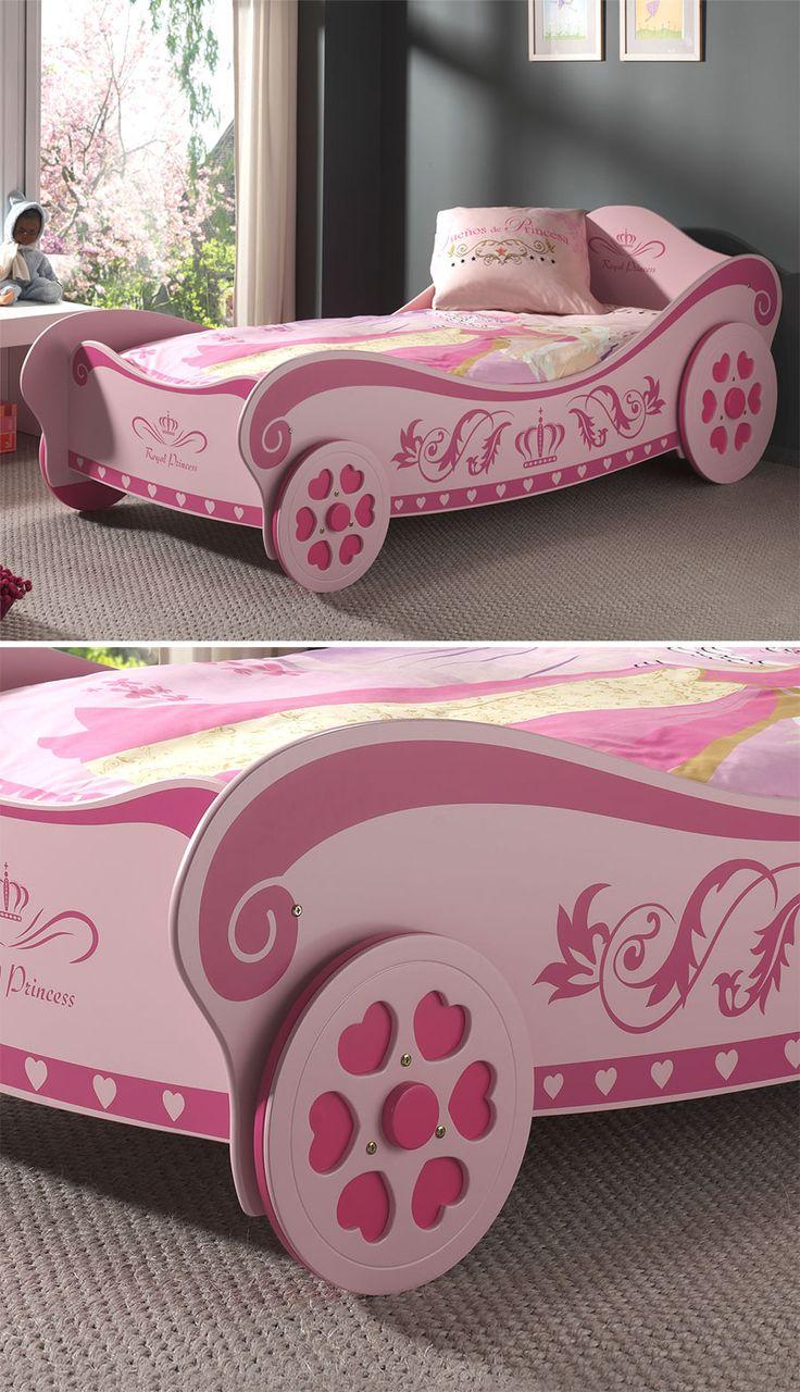 Superb Modernes Kutschenbett im ansprechenden Prinzessinnen Design Aus MDF rosafarben Mit feststehenden R dern und verspielten Applikationen Inklusive