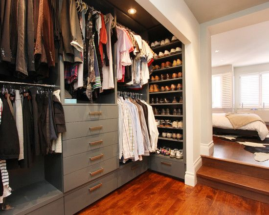 Yeah, so...I would love to do this with our tiny reach-in closet: Bust out part of the wall that is blocking us from accessing our whole closet, add bi-fold doors, and organize our closet just like this.