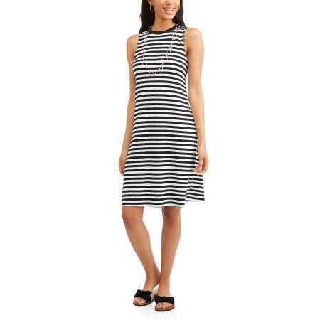 0e9b49bf02bf5 Time and Tru Women's High Neck Swing Dress, Size: Medium, Black ...