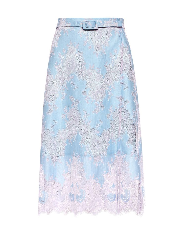 Carven Belted Floral Lace Skirt - IFCHIC