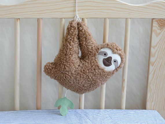 Musical soft toy sloth brown by PetitiPanda on Etsy