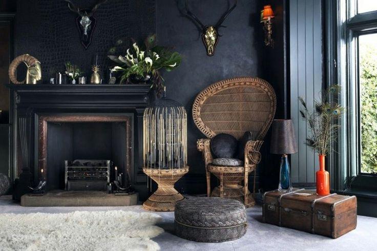 couleur foncée et déco de salon avec intérieur contemporain