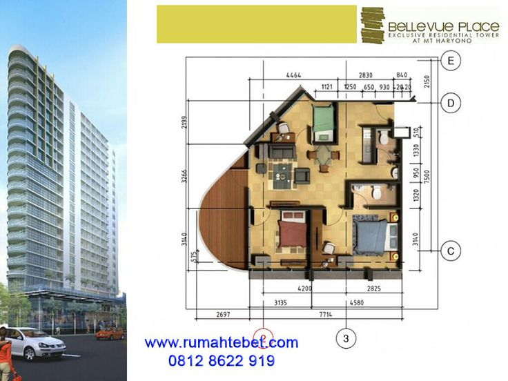 Apartemen Bellevue Place Type 3 Bedroom A