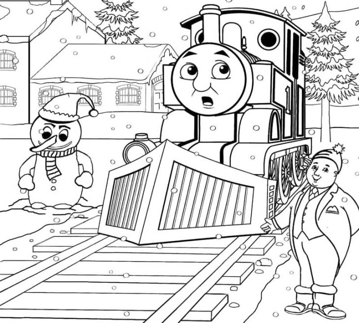 thomas and friends in a snowy day coloring page to print out - Thomas Friend Coloring Pages