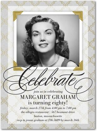 Flawlessly Framed - Adult Birthday Party Invitations in Black or Jewel   Sarah Hawkins Designs