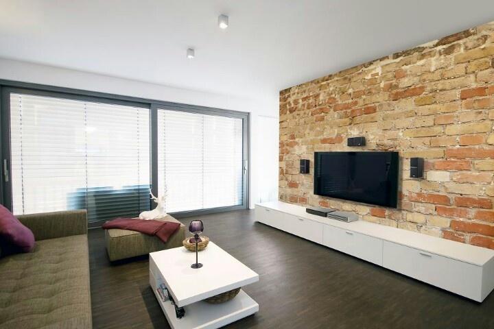 Steinwand TV  Wohnung  Pinterest  TVs