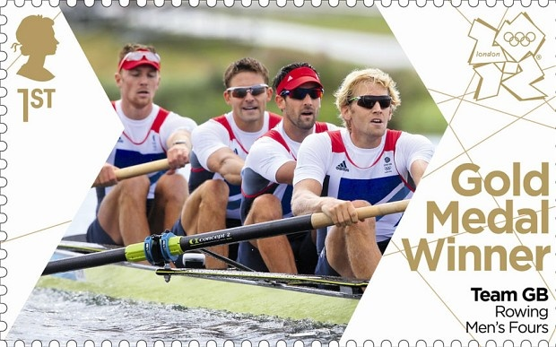 London 2012 Olympic: Royal Mail stamps of the gold medalists -   Andy Triggs Hodge, Pete Reed, Alex Gregory and Tom James who won the men's coxless fours