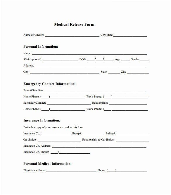 Sample Medical Release Forms Unique Sample Medical Release Form 10