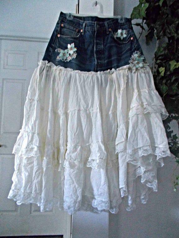 Ruffled lace jean skirt asymmetrical hem boho fairy turquoise aqua rhinestones sequins embellished Renaissance Denim Couture Made to Order