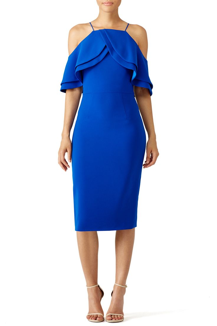 Rent Cobalt Multi Ruffle Dress by Christian Siriano