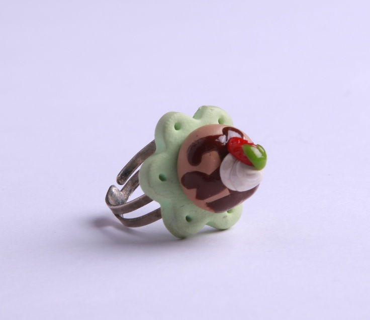 """Polymer Clay """"Plate of Cake"""" ring by milk+biscuit, $13"""