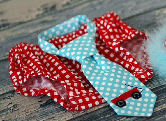 Boys Diaper Cover and Tie Little Red Wagon in Red and Aqua  - First Birthday Cake Smash, Red Wagon Party on Etsy, $35.00