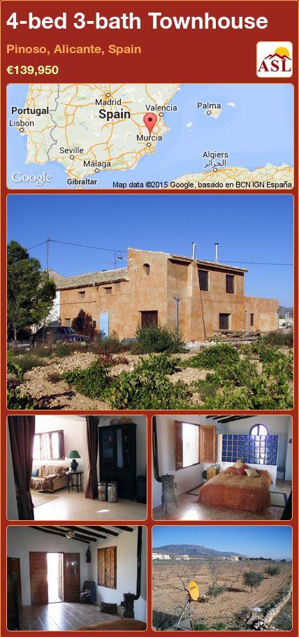 4-bed 3-bath Townhouse in Pinoso, Alicante, Spain ►€139,950 #PropertyForSaleInSpain