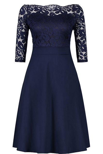 Cheap Navy Blue Cocktail Dresses Elegant Short Little Black Dress Lace Off  shoulder Formal Dresses Short Sleeve Satin Prom Gown  cocktaildresses   princess ... f458527bce39
