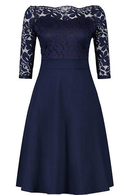 958bc234f41b Cheap Navy Blue Cocktail Dresses Elegant Short Little Black Dress Lace Off  shoulder Formal Dresses Short Sleeve Satin Prom Gown #cocktaildresses  #princess ...