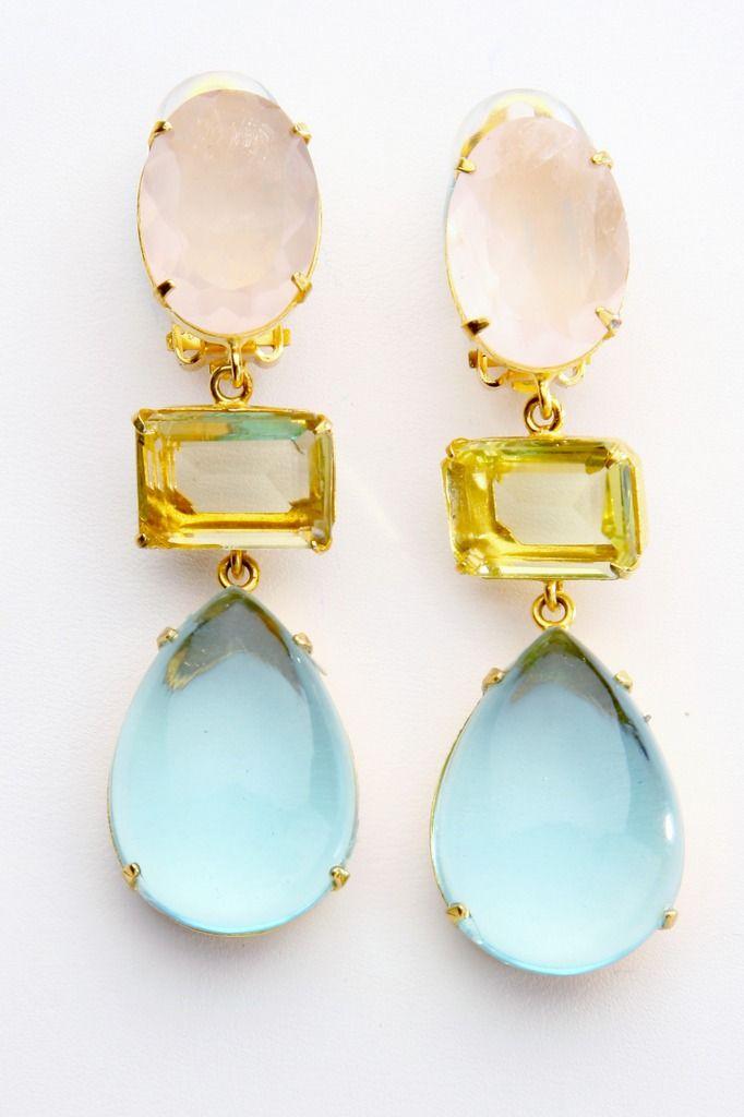 Earrings with Rose Quartz, Citrine and Blue Quartz
