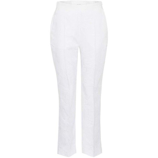 Delpozo Cropped Cotton Trousers (19,040 MXN) ❤ liked on Polyvore featuring pants, capris, white, cropped pants, white pants, white cotton pants, cotton crop pants and cropped trousers