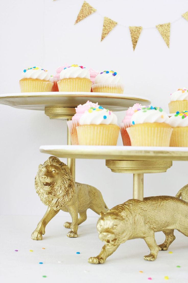 Cake Stand DIY abeautifulmess.com. Lions, tigers...dinosaurs...whatever is needed. Cool idea!