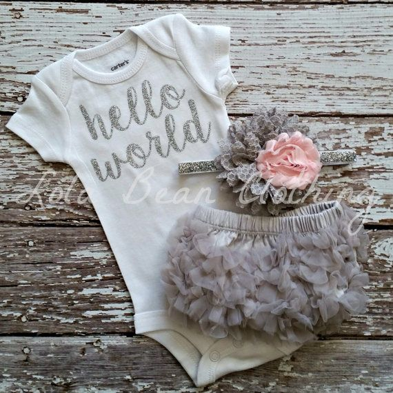 PRE ORDER Baby Girl Take Home Outfit Newborn Baby Girl Hello World Onesie Grey Bloomers Pink & Grey Headband Set