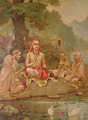 "Guru-shishya tradition -he term ""Upanishad"" derives from the Sanskrit words ""upa"" (near), ""ni"" (down) and ""şad"" (to sit) — so it means ""sitting down near"" a spiritual teacher to receive instruction... In the Upanishads, gurus and disciples appear in a variety of settings (e.g. a husband answering questions about immortality; a teenage boy being taught by Yama, Hinduism's Lord of Death) Sometimes the sages are women, and the instructions may be sought by kings."