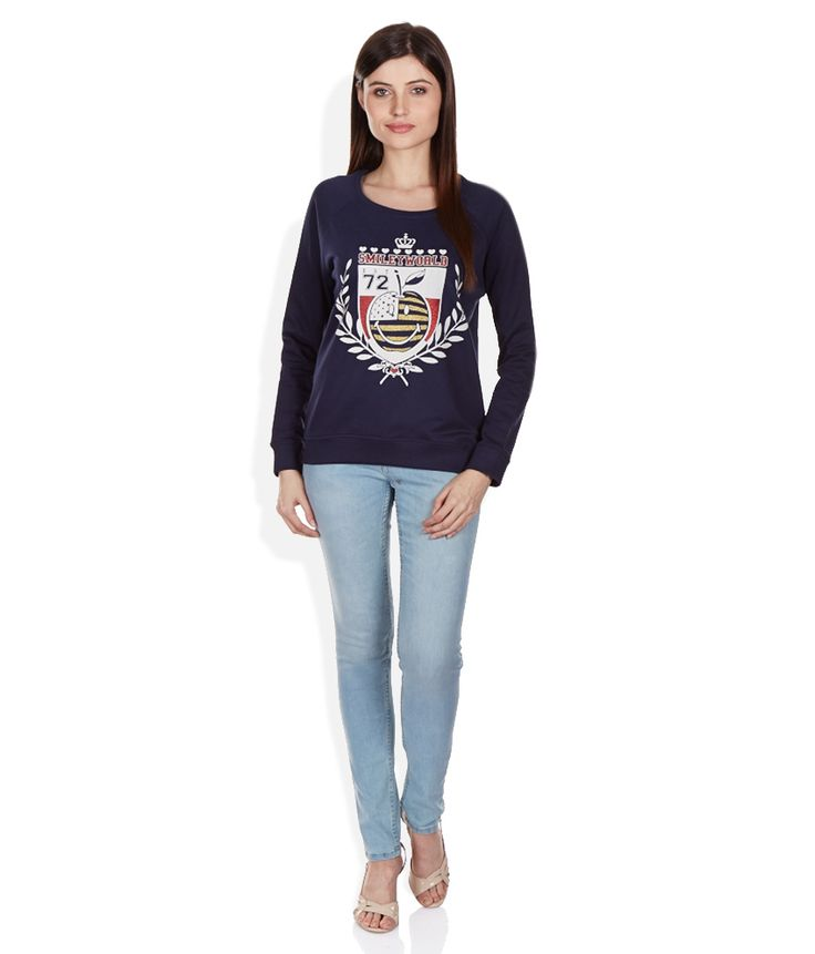 Smiley Navy Non Hooded Non Zippered Sweatshirt