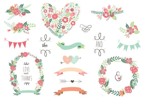 Save The Date Floral Wedding Clipart by CutePaperStudio on @creativemarket