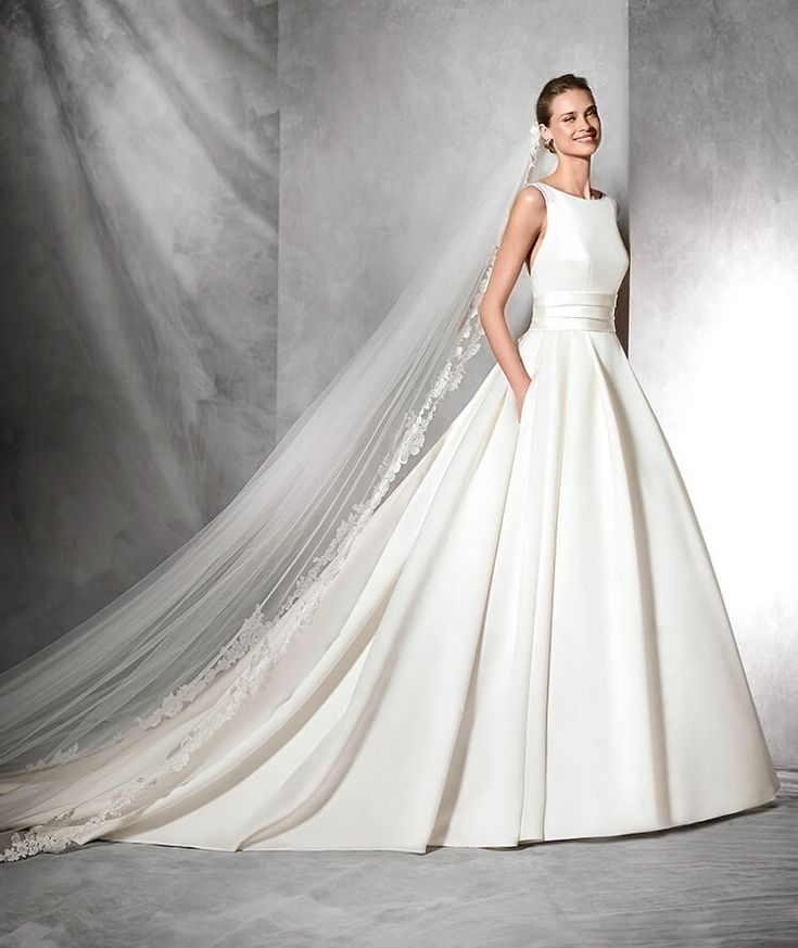 TAMI - Vestido de novia de raso, estilo clásico y escote barco