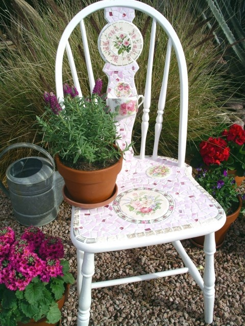 tea cup chair plant stand for a shabby chic garden