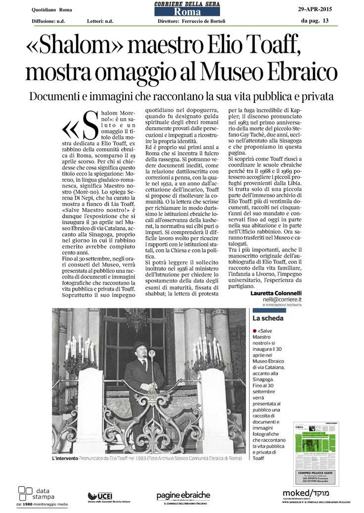 Articolo Corriere della Sera 29 aprile 2015