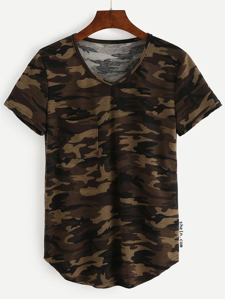 V-Neck Camo T-shirt - Olive Green