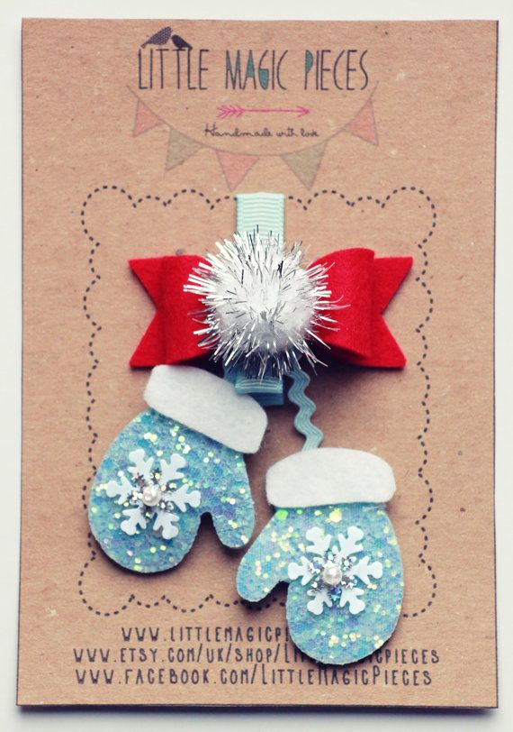 Glittery Mittens Hair Clip - Christmas Collection by Little Magic Pieces