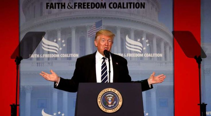 """U.S. President Donald Trump addresses the Faith and Freedom Coalition's """"Road to Majority"""" conference in Washington, D.C., on June 8. Trump spoke at the event, put on by what GLAAD calls """"extreme anti-LGBTQ activists,"""" and has not recognized June as Pride Month either by official proclamation or on Twitter."""
