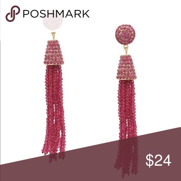 Hot Pink Tassel Earrings Rhinestone and Bead hot pink Tassel Earrings. About 4 inches in length. Jewelry Earrings
