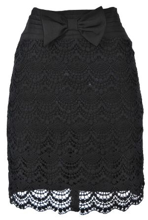 Bow Front Crochet Lace Pencil Skirt in Black