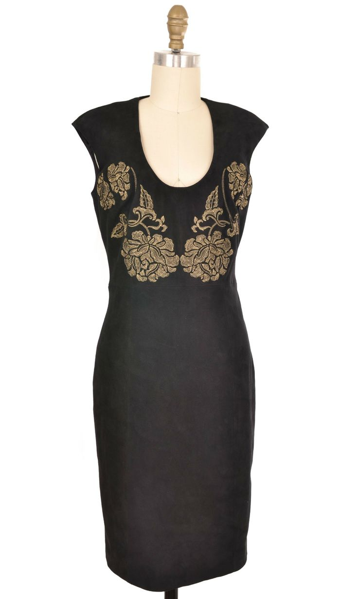 Marchesa Voyage Black Suede Dress Size 4 | ClosetDash