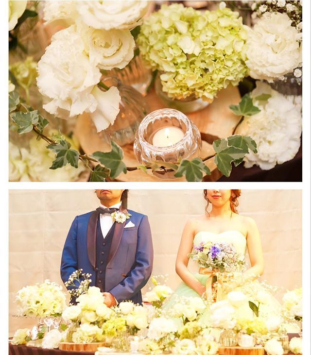 #weddingreport ✨ * #高砂装花 について🌸 * 高砂装花は、プランの1番安いの希望だけど、こだわりたい所はこだわりたいという面倒な希望を、ばっちり叶えてくれました☺️ * 白とグリーンのお花の組み合わせで、紫陽花、白バラ、カスミソウ、トルコキキョウなど。。 * 小瓶に入れてランダムに散らして、切り株の上にアイビーと花びらを敷いてもらいました✨ * 高砂のアップの写真は本当にツボ💛カメラマンさんの写真は好みじゃないのが多かったけど、これは、やるじゃん❣️って感じでした(^_^)💕笑←どんだけ上から💛 * #528組#wm0528#プレ花嫁#プレ花嫁卒業#卒花#結婚式#2016春婚#ウエディングレポ#結婚式レポ#ウエディング#卒花嫁#まなレポ#装花#高砂#メインテーブル
