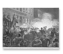 """Chicago Historical Society and Northwestern University - large educational website about the events leading up to the Haymarket Riot, the subsequent trial and executions, etc. Little-known fact: May Day 1886 was the day of the general strike in Chicago to ask for an 8 hour work day. The Riot was May 4th, as police and protesters clashed over deaths of protesters the previous day. This links to historical materials; follow the link to the """"Haymarket Drama"""" for more information."""