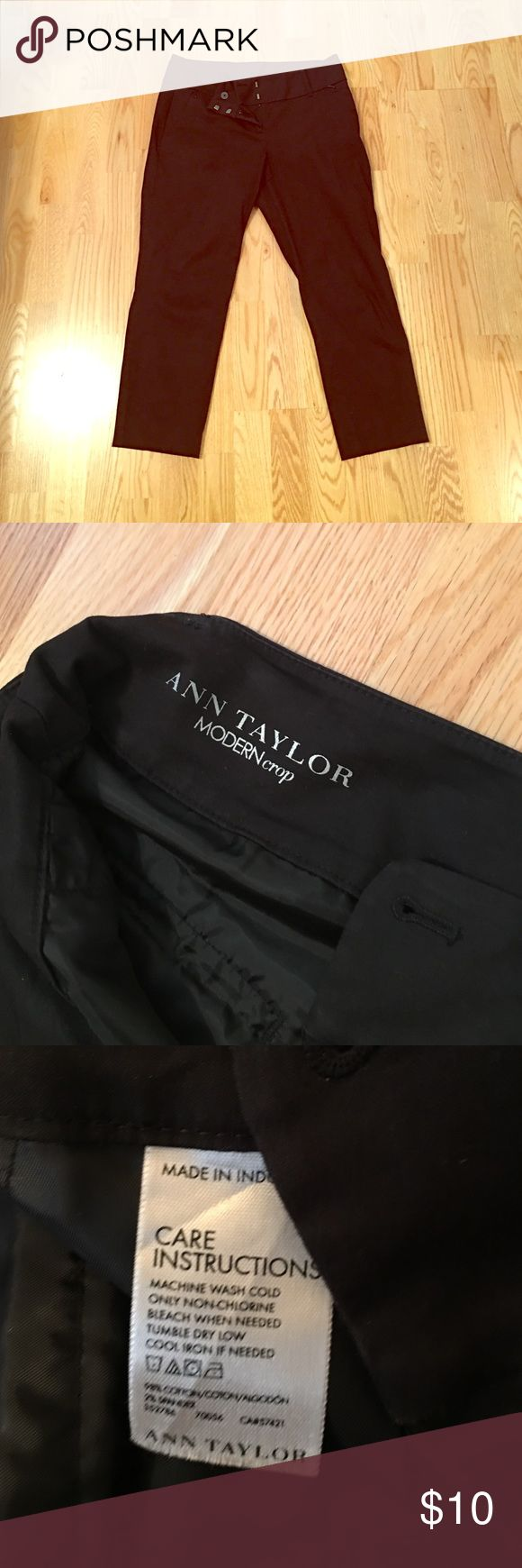 Black crop pant Black cropped pant well loved for the office. Ann Taylor Pants Ankle & Cropped