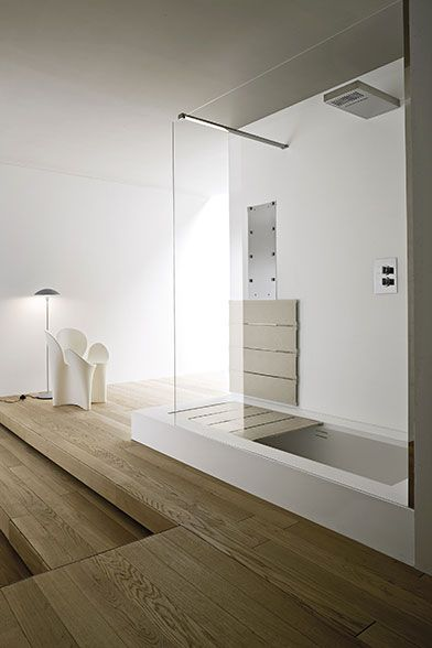 I love the idea of a shower that could convert to a bathtub anytime I wanted a bath - Unico   Rexa Design