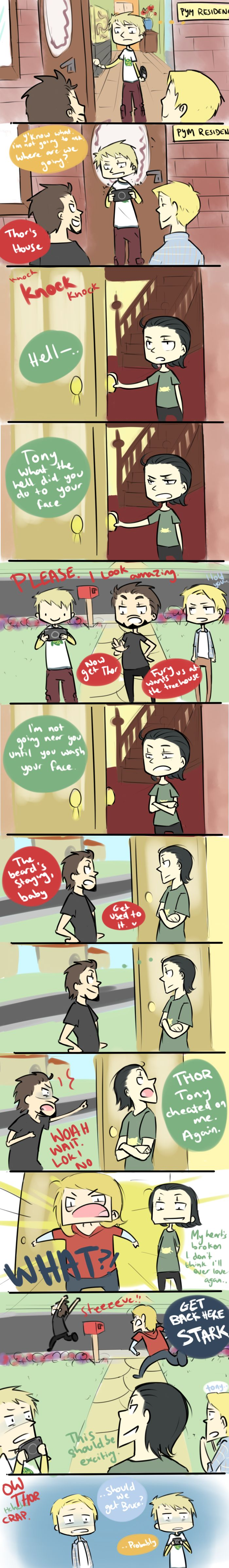 Tonys Beard Part 2 by ~blargberries on deviantART (why dose this make it seem like they are in love )