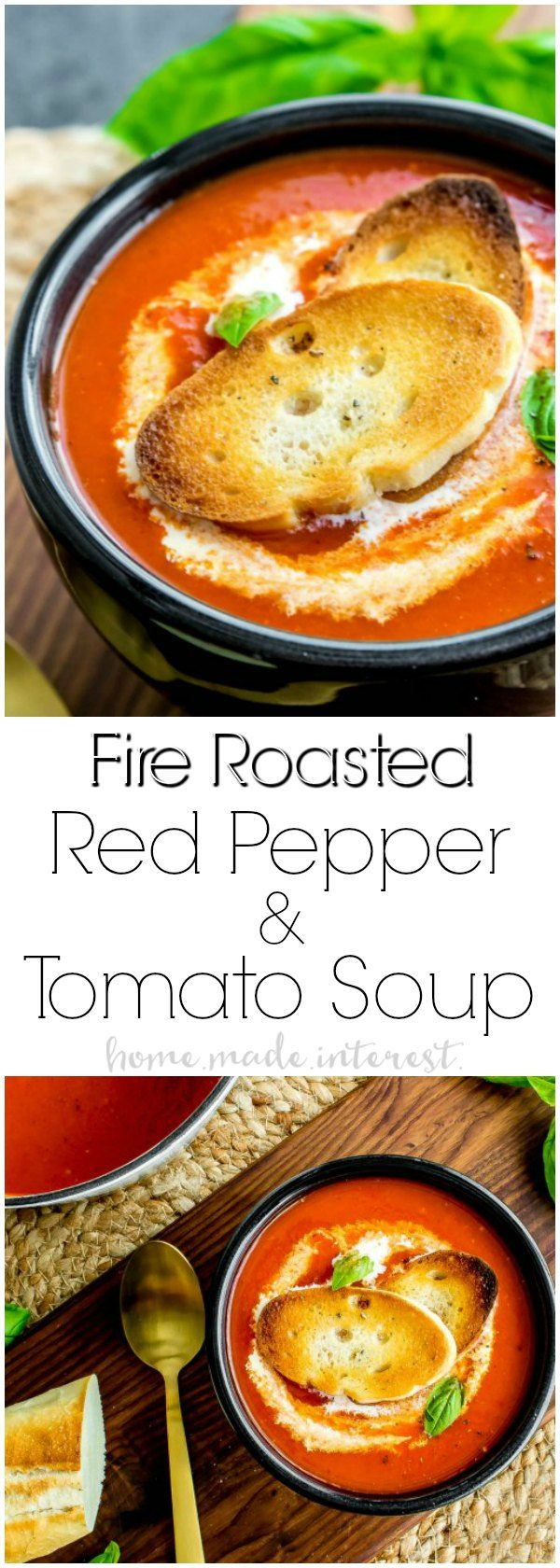 Fire Roasted Red Pepper Soup is a smoky tomato and red pepper winter soup recipe that is best served with a drizzle of cream and a crusty piece of bread or a grilled cheese sandwich! This easy soup recipe is the ultimate winter comfort food. It's a combination of tomato soup and the smoky flavor of roasted red peppers.  #soup #tomatoes #souprecipes