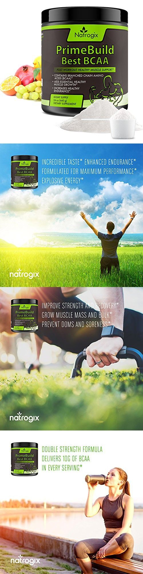 Natrogix 660g (24oz) Essential 3-in-1 Muscle Builder - Post Workout Recovery with BCAA, Creatine Monohydrate, and L-Glutamine Powder, 60 Servings