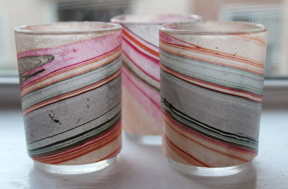 Glass votives decoupaged with marbled paper.