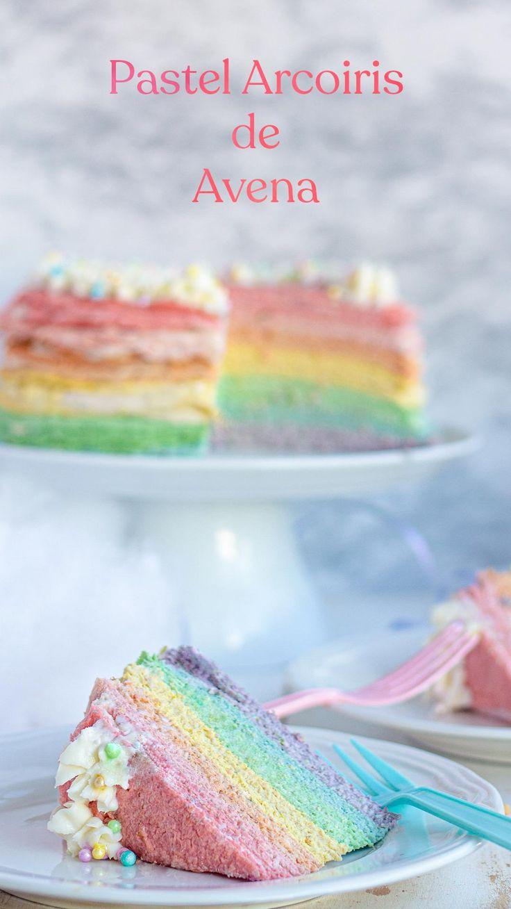 Un colorido y saludable pastel de crepas de avena fácil de preparar sin necesidad de horno #InspírateEnCasa Frozen Fever Cake, Vegan Birthday Cake, Barbie, Cake Cookies, Amazing Cakes, Vanilla Cake, Baking Recipes, Food To Make, Healthy Snacks