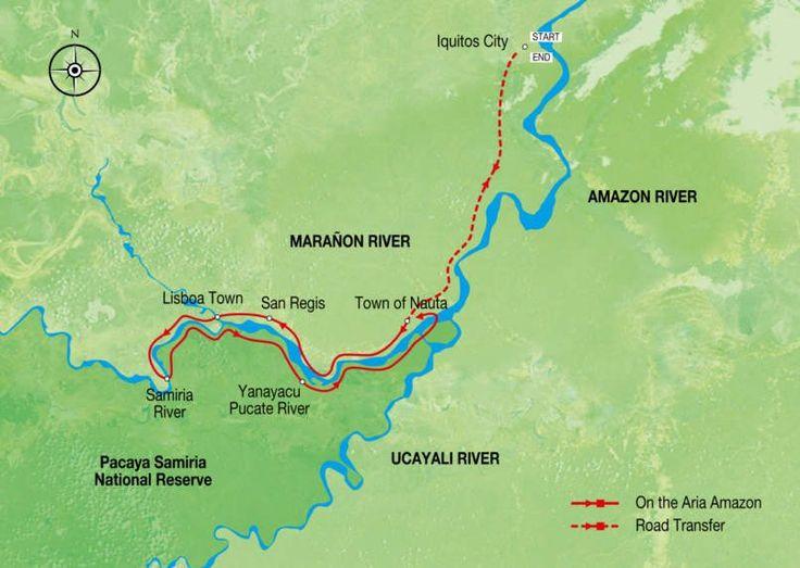 Enjoy a 3 night Amazon River luxury cruise on the Aria Amazon into the Amazon rainforest and the Pacaya Samiria Reserve to see Amazon wildlife and birds.
