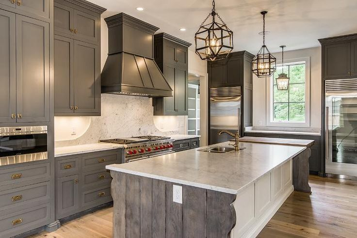Mediterranean Kitchen Features Gray Shaker Cabinets